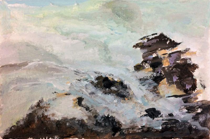 Zee en rotsen, 2016, 10 x 15