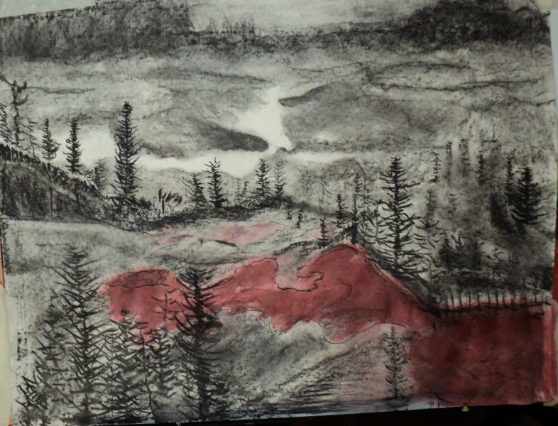 Landschap, houtskool en inkt