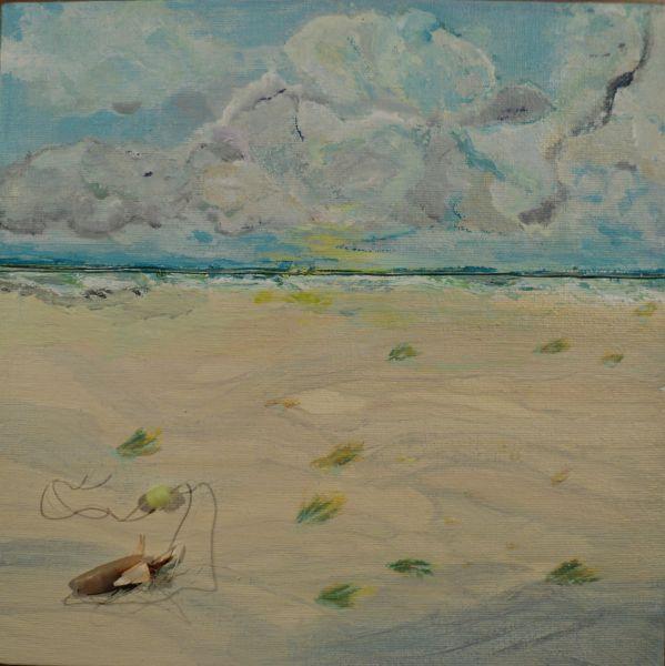 Schilderijtjes 20x20, acryl met gejut onderwerp