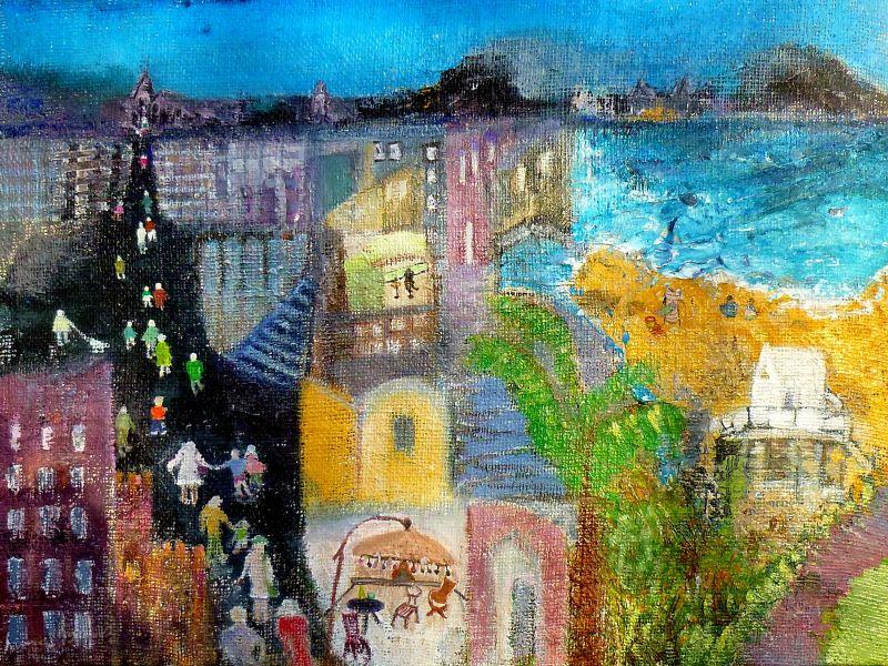 Stad op jute geschilderd, 40x50